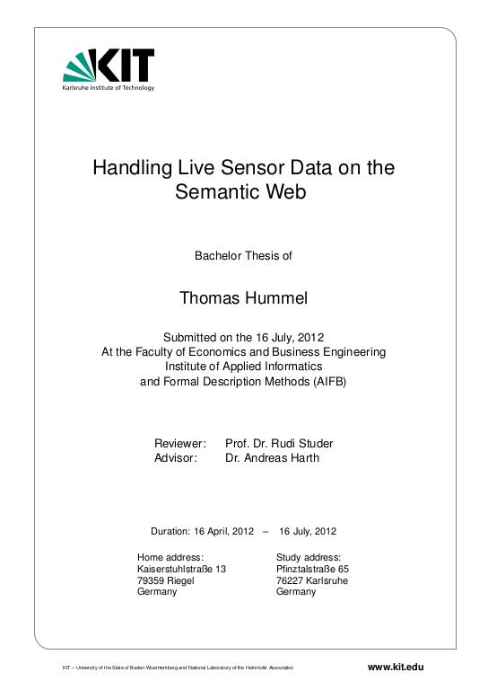 Handling Live Sensor Data on the Semantic Web